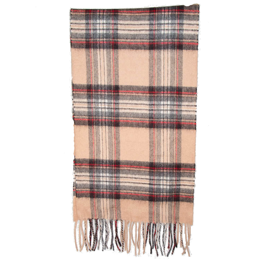 Ruit cashmere camel/rood