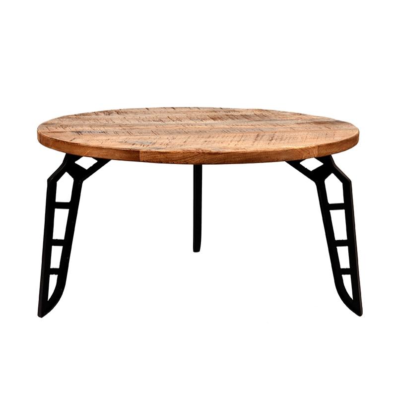 Salontafel Flintstone - Rough - Mangohout - Rond - 80 cm