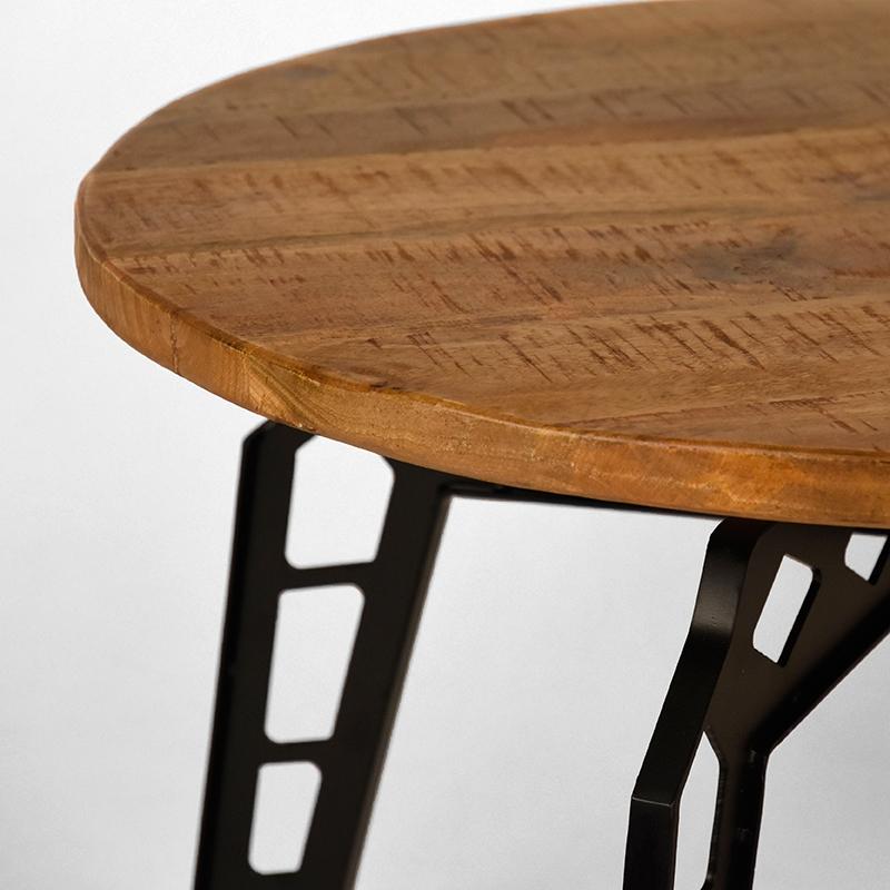 Salontafel Pebble - Rough - Mangohout - Rond - 80 cm