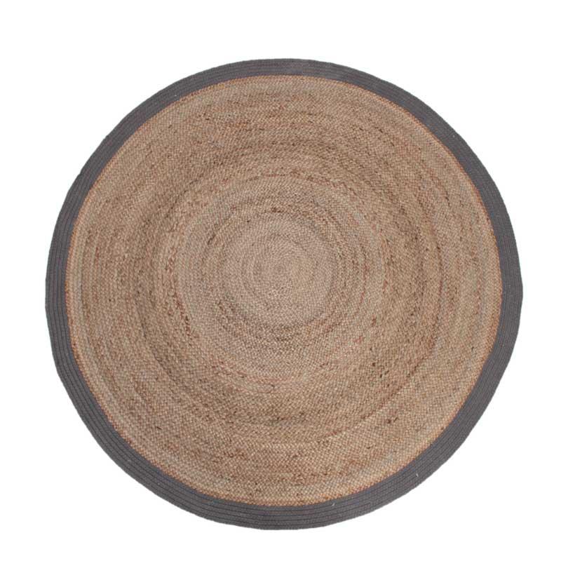 Vloerkleed Jute - Grijs - Jute - 180x180 cm
