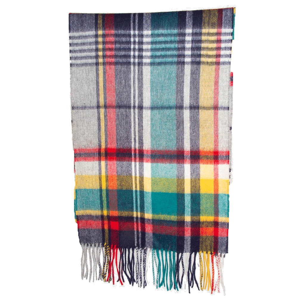 Sjaal Bright country plaid lambswool navy