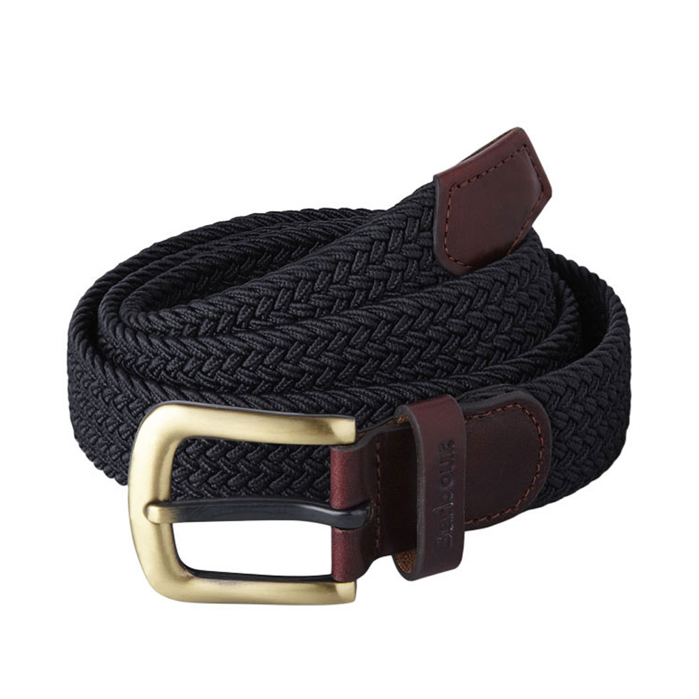 Stretch webbing leather belt