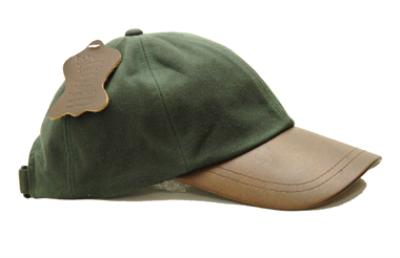 Striker Leather Peak Wax Baseball Cap Olive