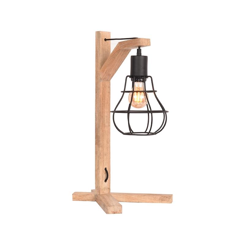 Tafellamp Drop - Zwart - Mangohout