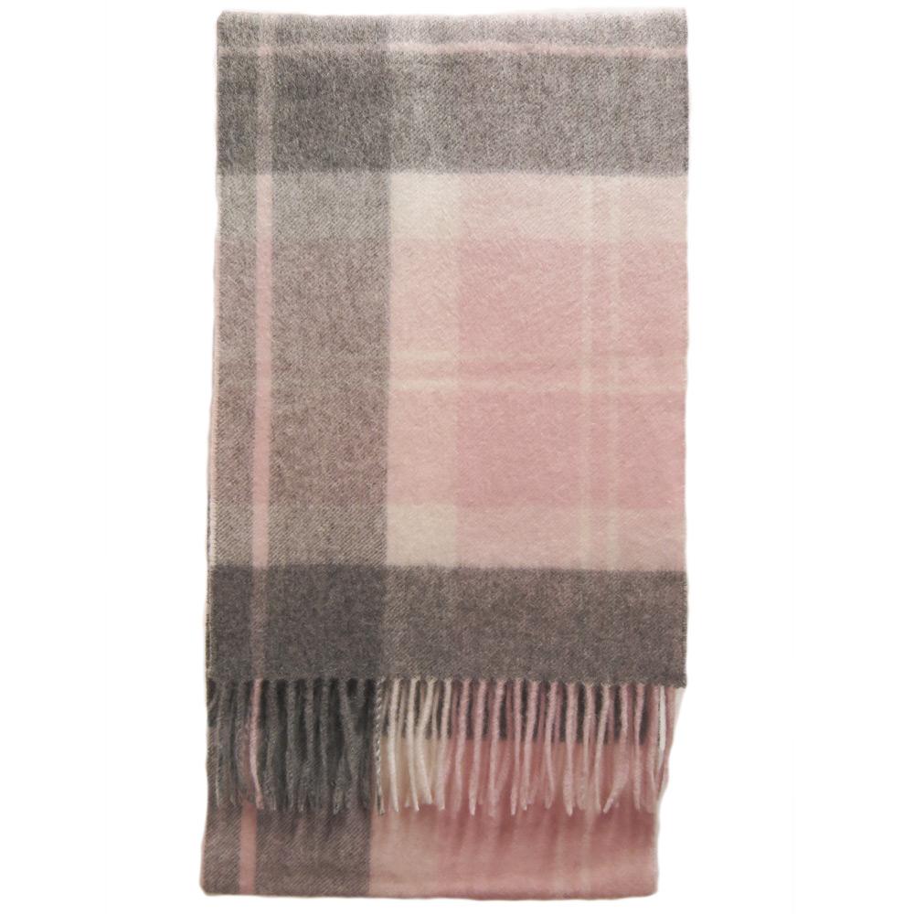 Tartan Cashmere Scarf pink/grey