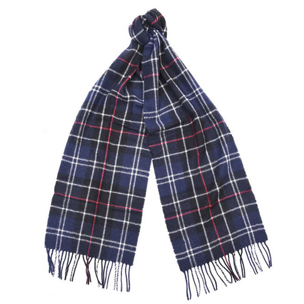 Tartan scarf lambswool ancient navy/red