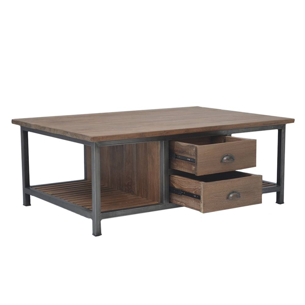 Teak Industriele Salontafel met 2 laden