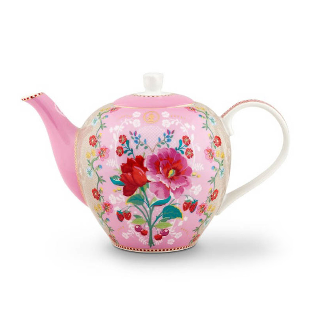 Theepot floral 1600ml pink