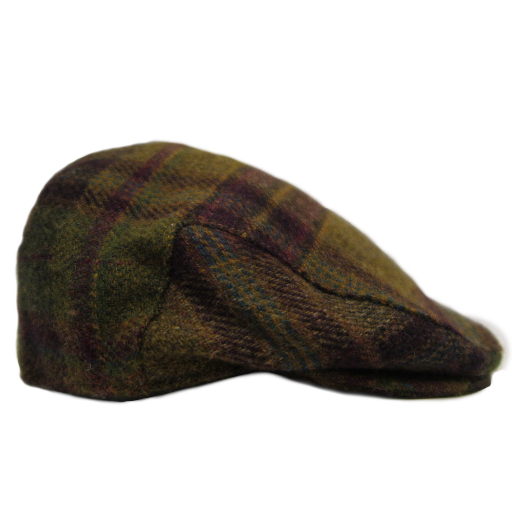 Tweed Flat Cap Wine/Olive check
