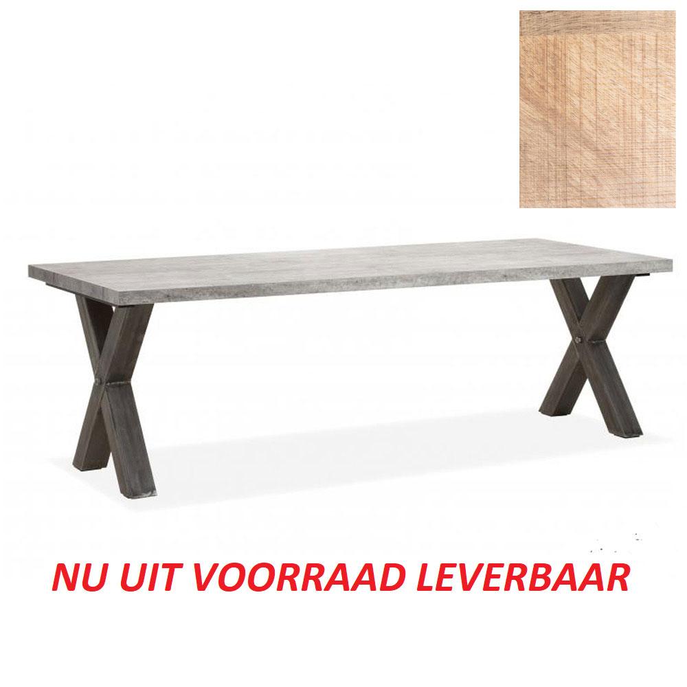 Vianen Eettafel 220x100cm (X-poot) MANGO