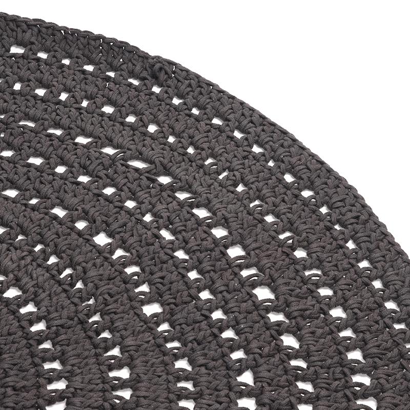 Vloerkleed Knitted - Antraciet - Katoen - 150x150 cm