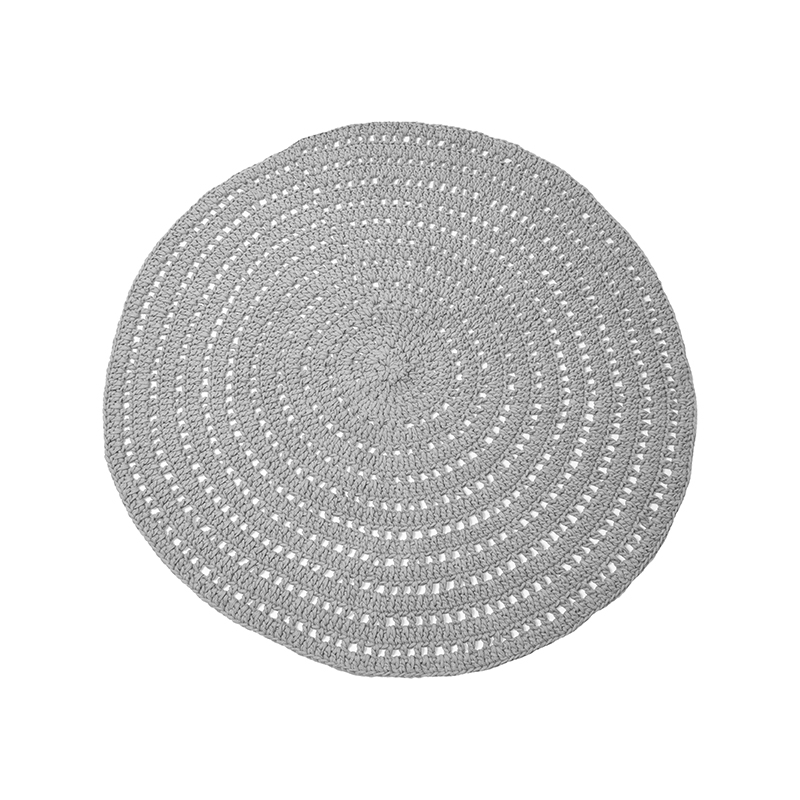 Vloerkleed Knitted - Grijs - Katoen - 150x150 cm