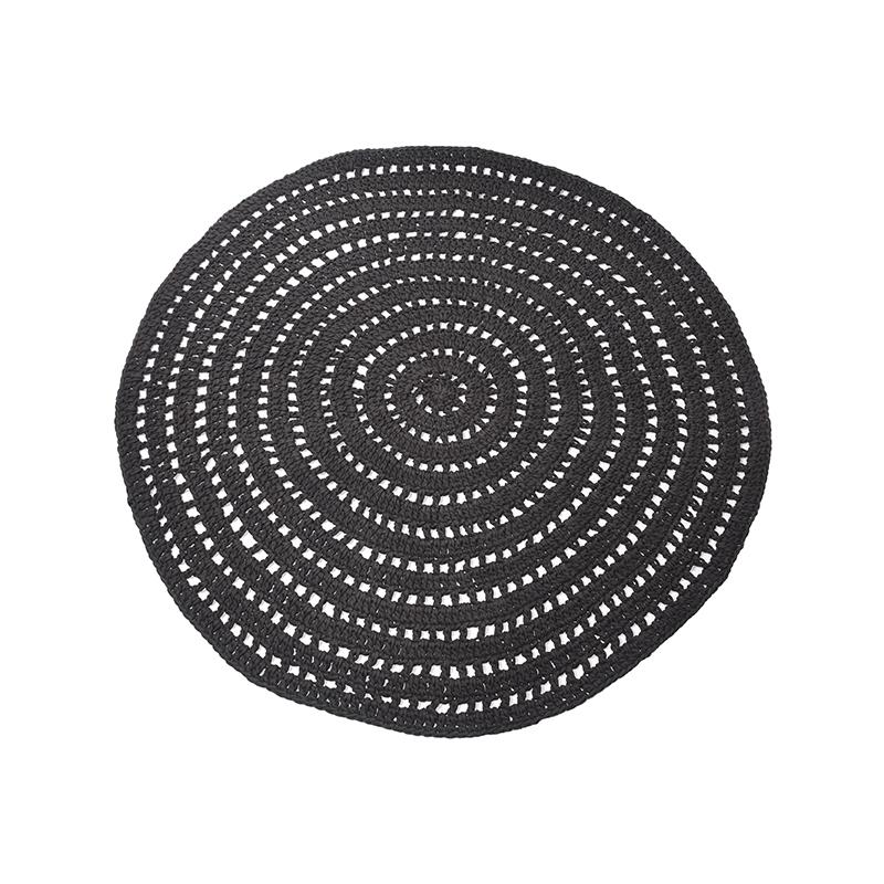 Vloerkleed Knitted - Zwart - Katoen - 150x150 cm
