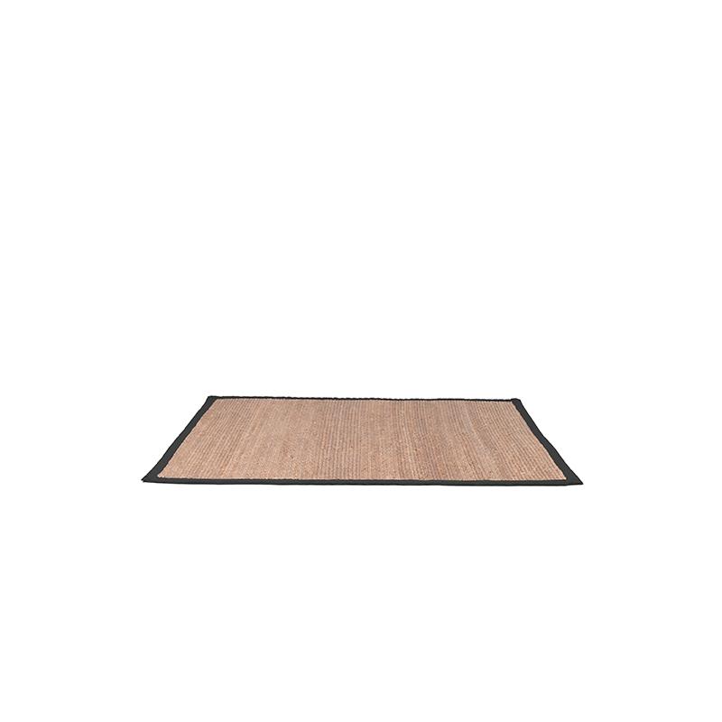 Vloerkleed Jute - Zwart - Jute - 160x140 Cm