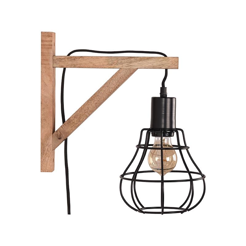 Wandlamp Drop - Zwart - Mangohout