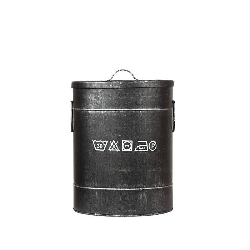 Opbergblik Wasmand - Zwart - Metaal - M
